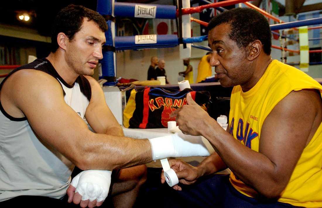 Klitsjko och sin förre tränare, Emanuel Steward, 2004.