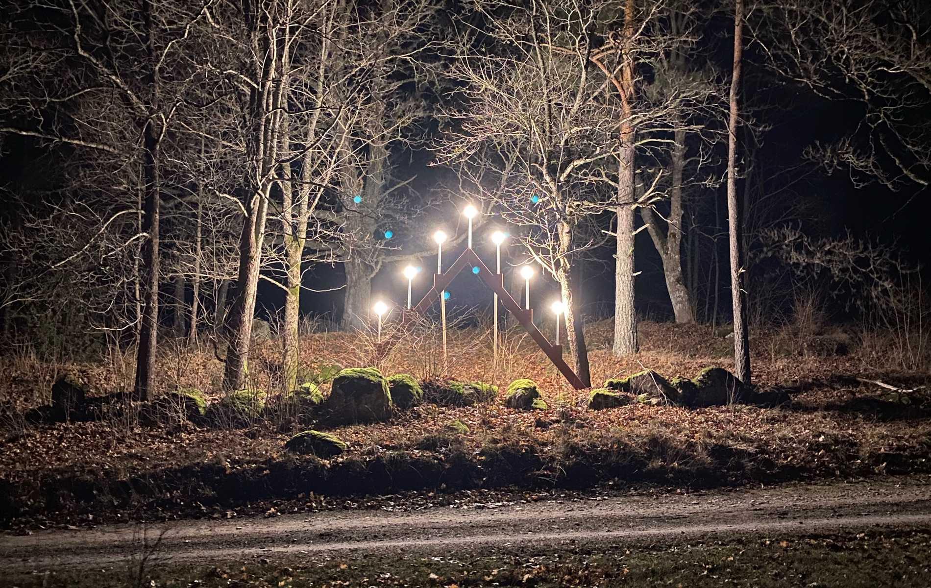 Paret vill att ljusstaken ska lysa upp när folk åker förbi.