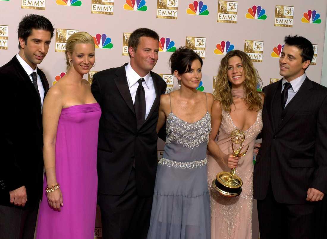 """Hela gänget i succéserien """"Vänner"""": David Schwimmer, Lisa Kudrow, Matthew Perry, Courteney Cox, Jennifer Aniston och Matt LeBlanc. Arkivbild."""