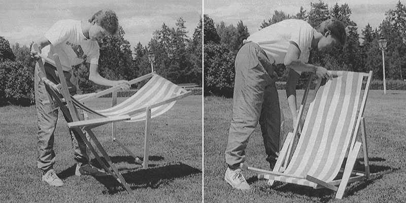 """J-O Waldner försöker fälla upp en solstol 1989: """"Det såg ut som om han försökte betäcka en struts"""", skrev Sportbladets Peter Wennman då."""