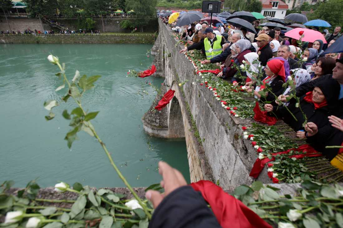 Bosnienmuslimer i staden Visegrad kastar 3000 rosor i floden Drina. Varje blomma representerar en människa som dödades under kriget. 26 maj, 2012.