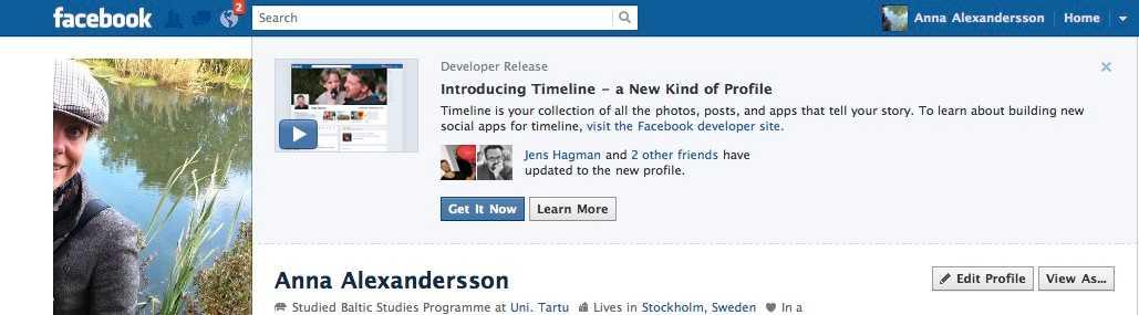 """8. När du är tillbaka på din Facebook-sida ska du se detta. Klicka på """"Get it Now"""" – och du har börjat ditt nya liv på Facebook. (Eller åk på en provtur och vänta en vecka på den äkta lanseringen)"""