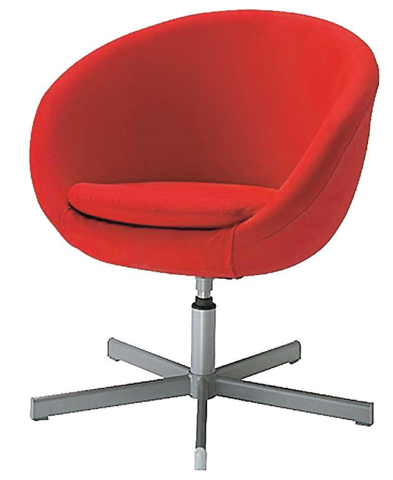"""Röd liten snurrstol som blir en fin accent i hemmet, """"Skruvsta"""" från Ikea kostar 799 kr."""