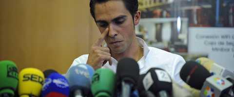 Alberto Contador under dagens presskonferens.