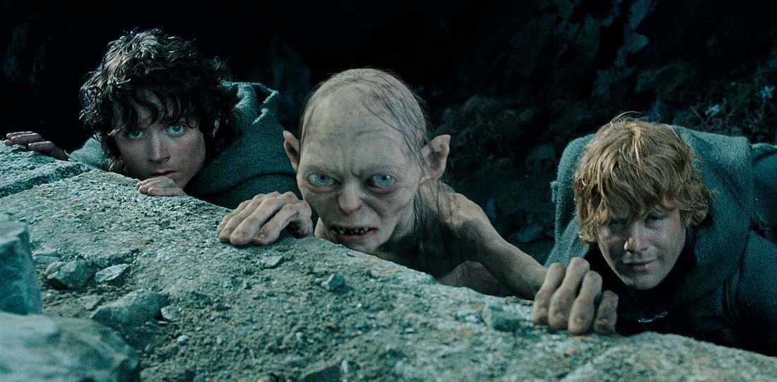 """Elijah Wood som Frodo, varelsen Gollum och Sean Astin som Sam i """"Sagan om konungens återkomst""""."""