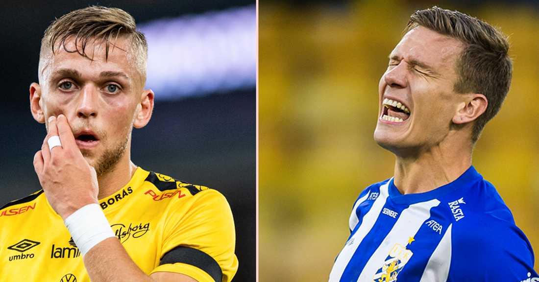 Elfsborgs Jesper Karlsson (t.v.) och Göteborgs Pontus Wernbloom (t.h.).