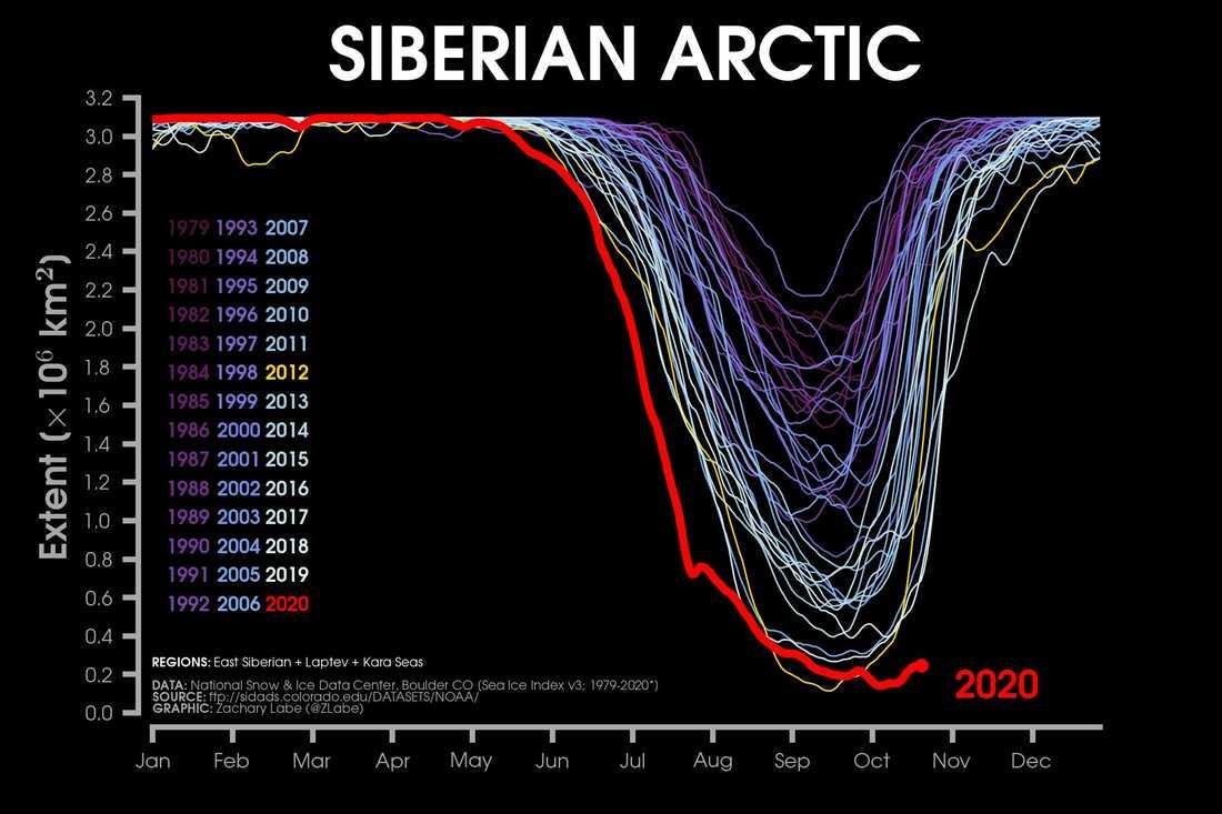 2020 är ett avvikande och rekorddåligt isår på Arktis.