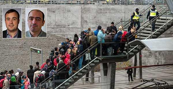 """Kön av ankommande flyktingar till Malmö ringlade lång under hösten 2015. I dag skriver SD:s Magnus Olsson och Nima Gholam Ali Pour att staden behöver ett riktigt flyktingstopp. """"S och M lägger fram tre blygsamma förslag som inte erkänner hur allvarliga problem Malmö har. """""""