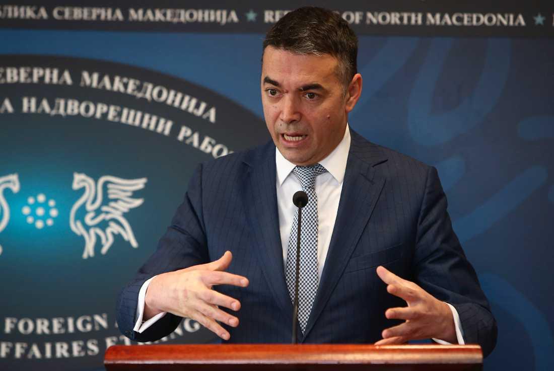Nordmakedoniens utrikesminister Nikola Dimitrov hoppas på framtida medlemskap i EU. Arkivfoto.