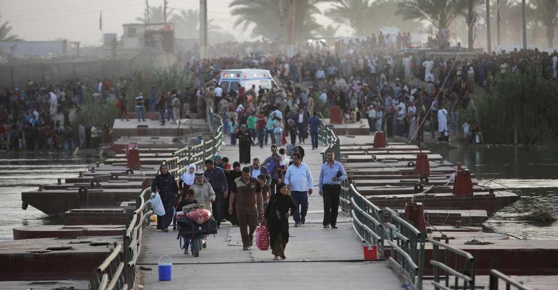 Människor flyr staden Ramadi i Irak efter IS offensiv.