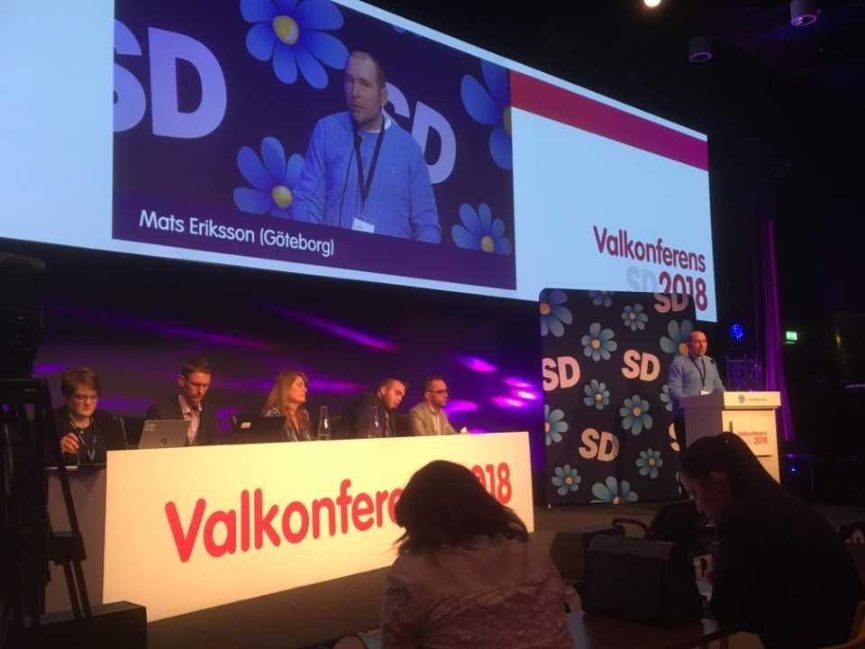 Mats Eriksson under SD:s valkonferens 2018.