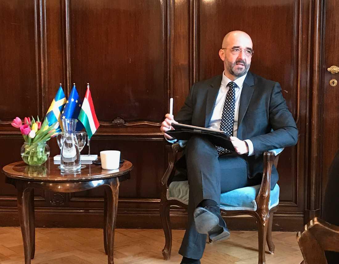 Zoltan Kovács, talesperson för den ungerska regeringen och premiärminister Viktor Orbán, på besök i Sverige.
