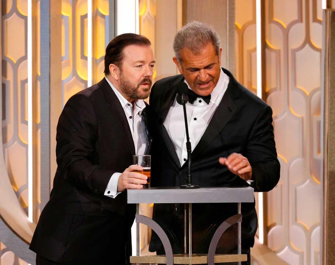 Ricky Gervais skämtade återigen om Mel Gibsons antisemitiska fylleutbrott – och det blev dålig stämning.