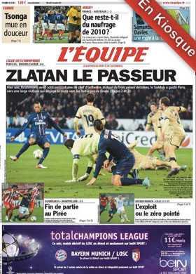 Dagens framsida på franska L'Equipe.