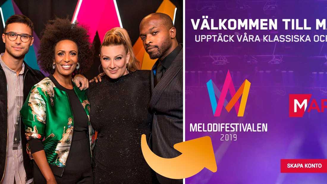 Årets upplaga av Melodifestivalen sponsras av ett spelbolag, som skyltar med festivalens logotype på sin startsida.