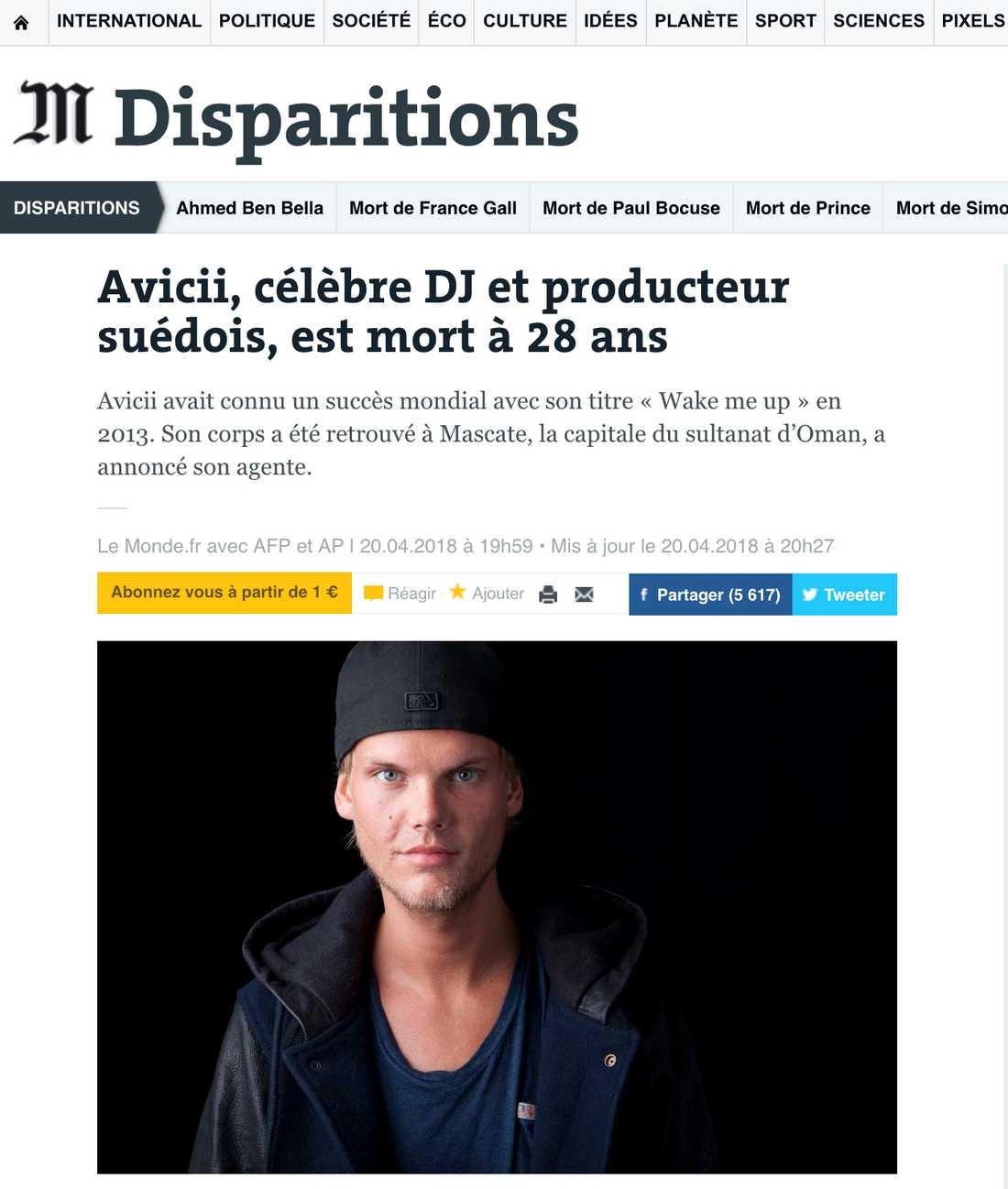 Franska Le Monde om Aviciis död.