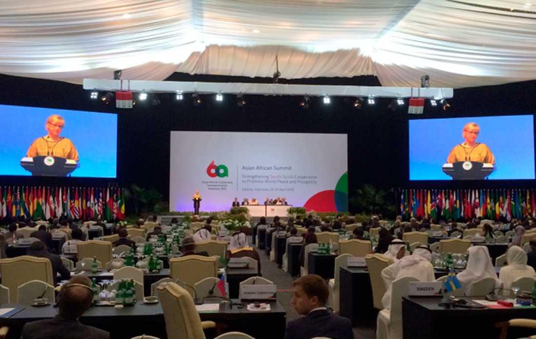 Margot Wallström talade för flera länder som ingår i Arabförbundet.