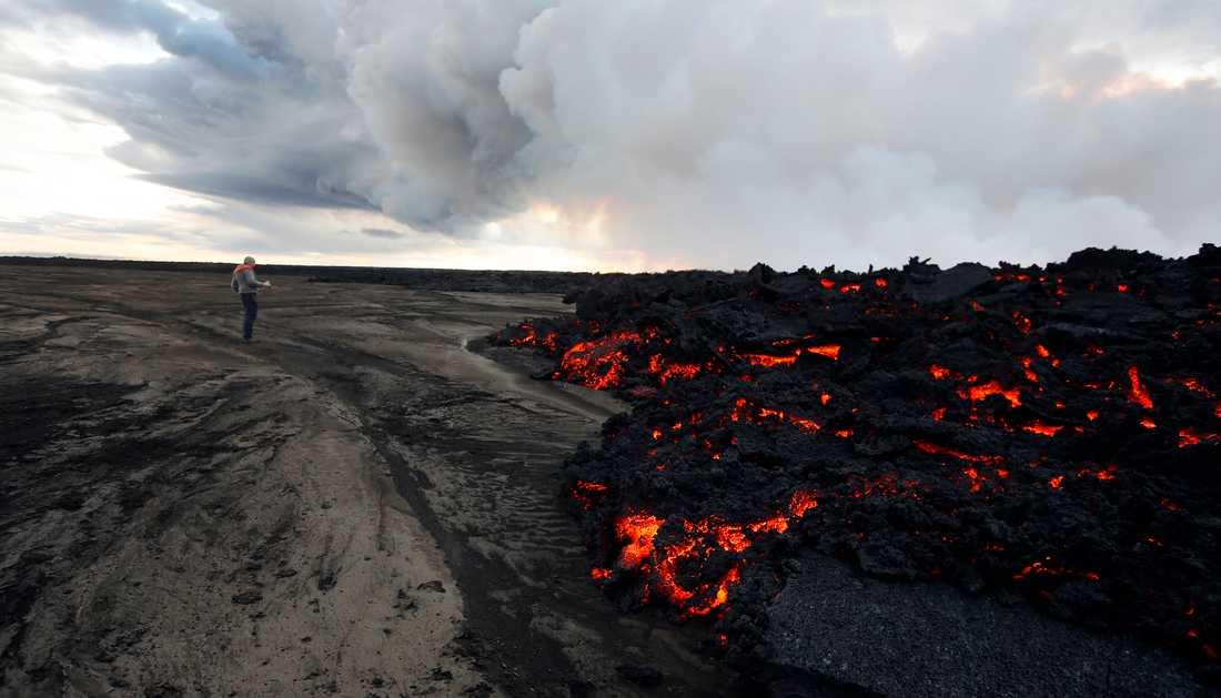 Forskare i Danmark har slagit fast att ett vulkanutbrott i Alaska 43 år före Kristus orsakade det kalla klimat som bidrog till romarrikets fall. Bilden visar lavaströmmar men på Island. Arkivbild.