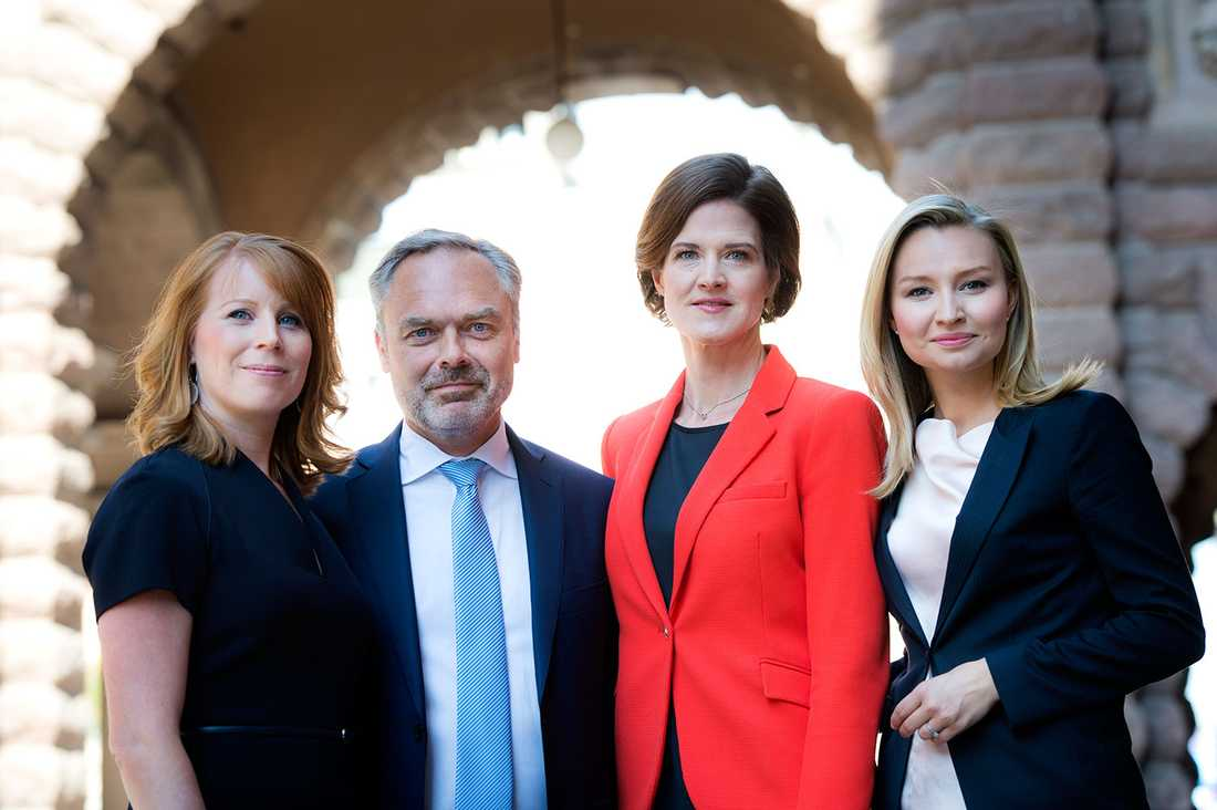 Alliansens partiledare: Annie Lööf (C), Jan Björklund (L), Anna Kinberg Batra (M) och Ebba Busch Thor (KD).