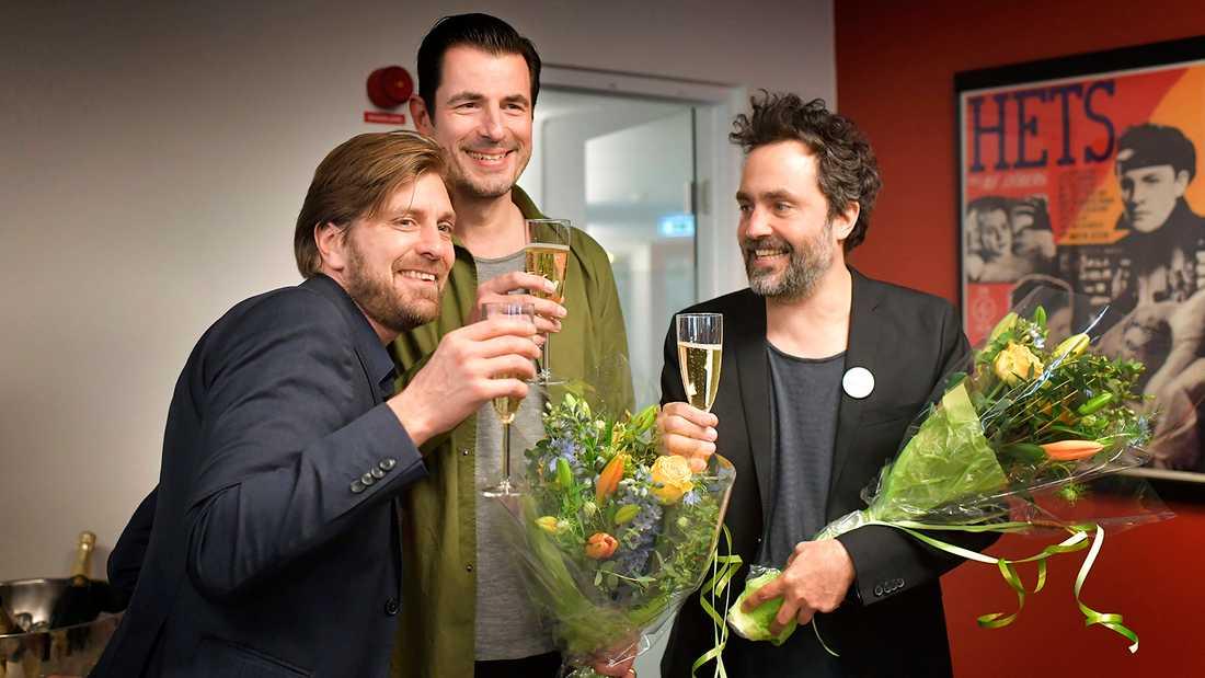 Ruben Östlund med skådespelaren Claes Bang och producenten Erik Hemmendorff.