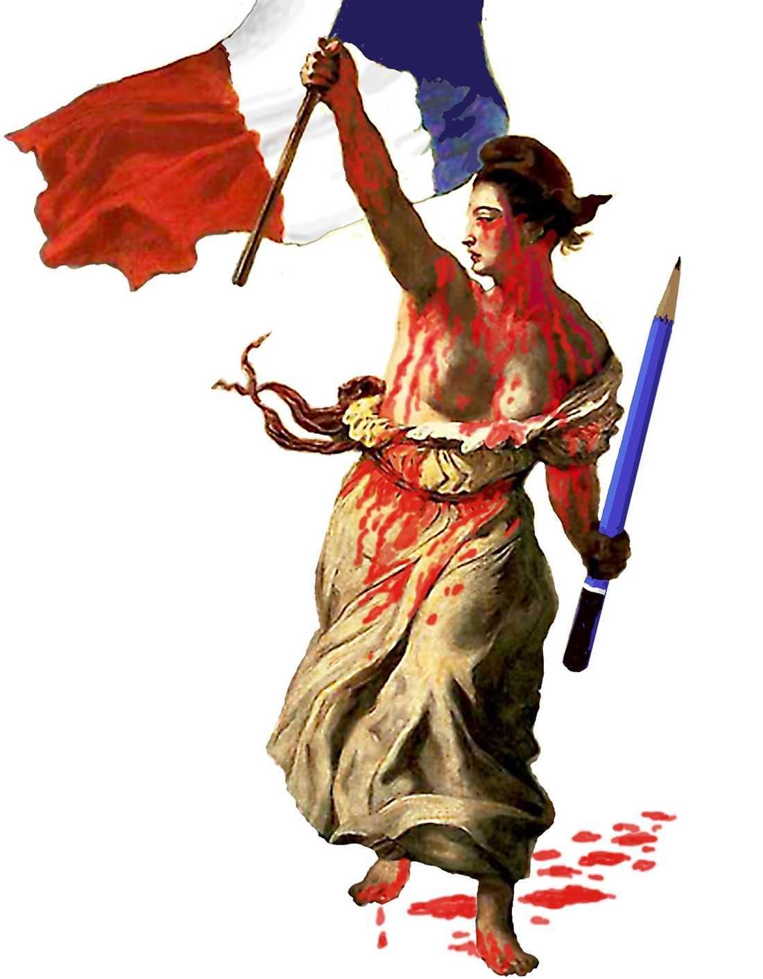 Tecknaren Leif Zetterling ger sin bild av terrorattacken. Marianne är Frankrikes motsvarighet till Sveriges nationalsymbol Moder Svea. Marianne omnämndes första gången 1792, då republiken infördes i Frankrike.