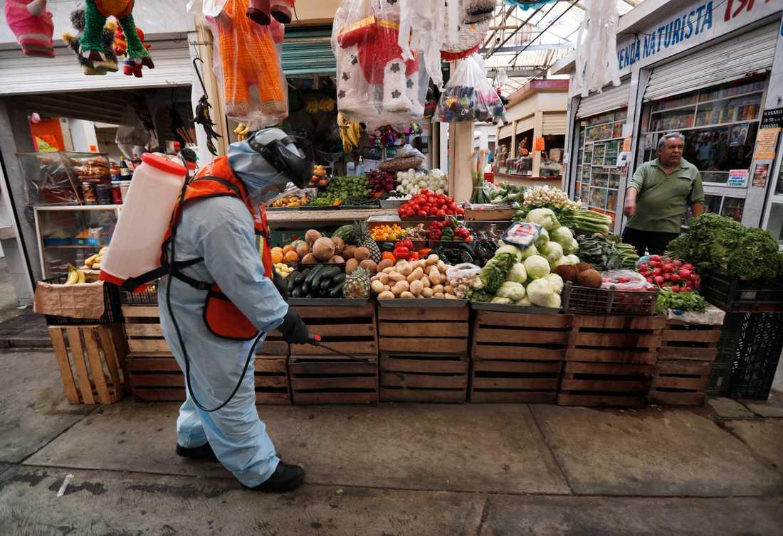 Desinfektion av en marknad i Mexico City. Arkivbild.
