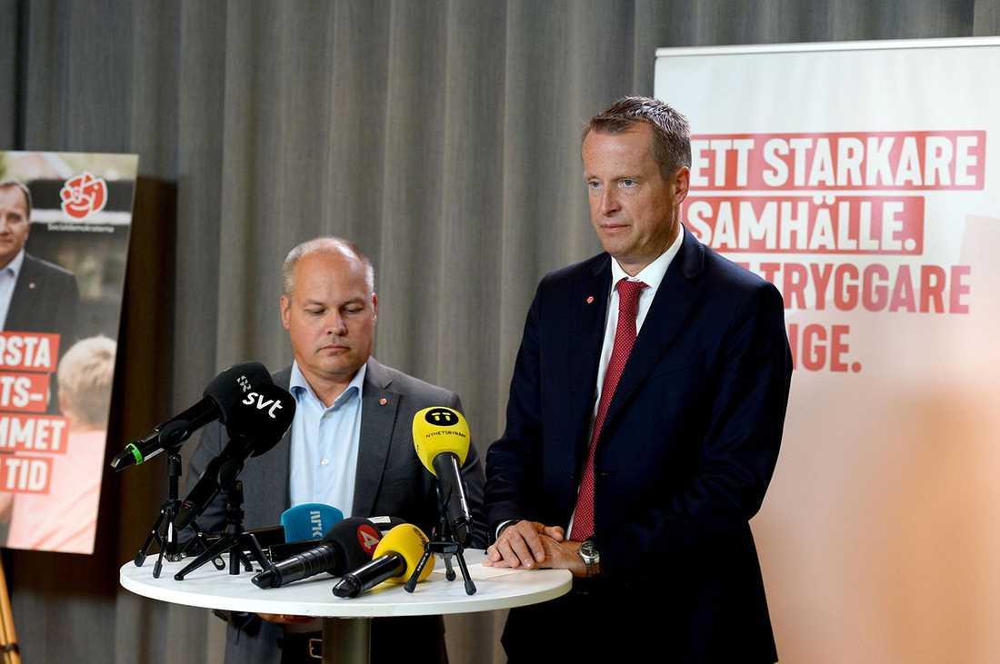 Justitieminister Morgan Johansson (S) och Anders Ygeman (S), gruppledare i riksdagen.