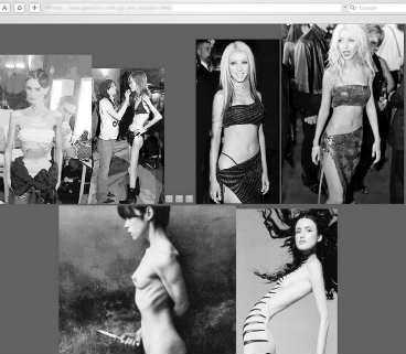 INSPIRERAR TILL SVÄLT Pro-Ana sajterna, som forumen för anorektiker kallas, lägger upp bilder på modeller och stjärnor som tjejerna kan inspireras av. Medlemmarna på forumen lägger också ut bilder på sina egna smala kroppar. Bilden är hämtad från en av hemsidorna på internet.