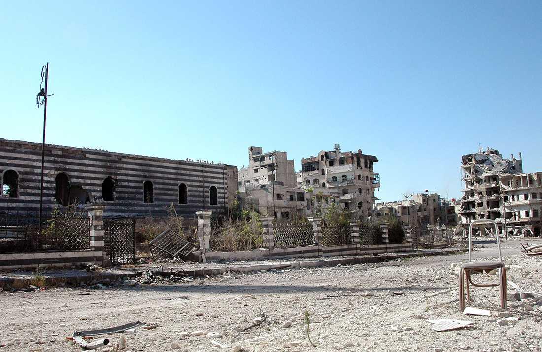 Förödelse i Homs.