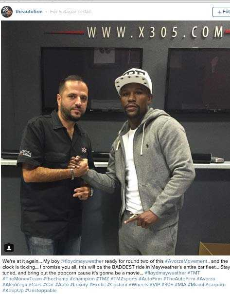 Alex Vega från The Auto Firm i Miami tillsammans med Floyd Mayweather Jr.