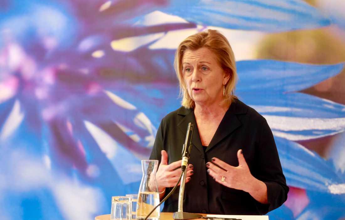 Partisekreterare Maria Arnholm (L) på pressträffen inför Liberalernas riksmöte.