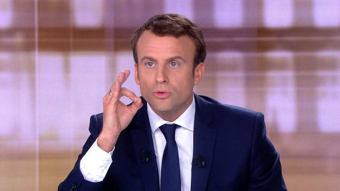 Emmanuel Macron under kvällens debatt.