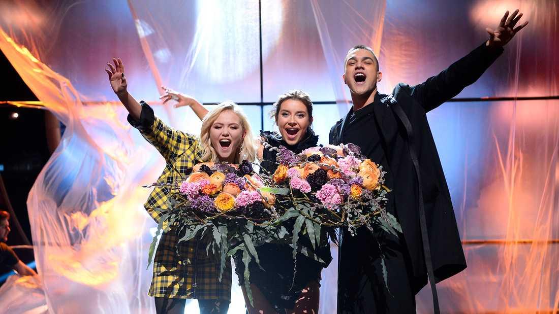 Malou Prytz, Hanna Ferm och Liamoo jublar över sina finalplatser i Melodifestivalen.