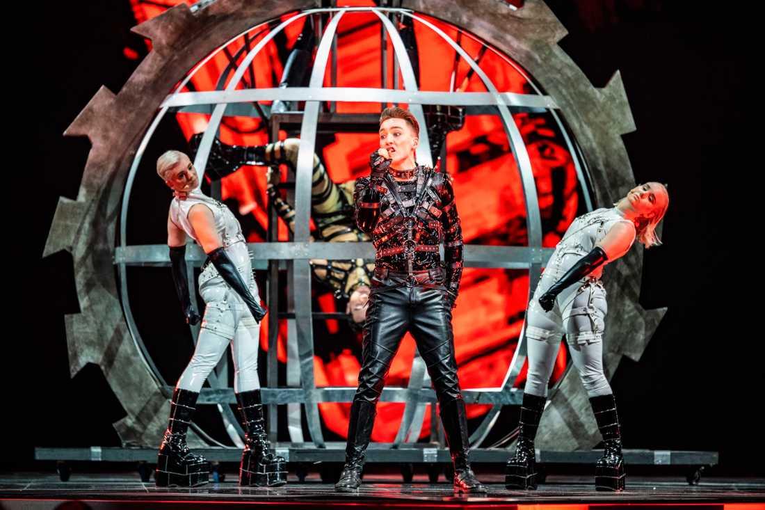 Isländska Hatari i Eurovision song contest i Tel Aviv.
