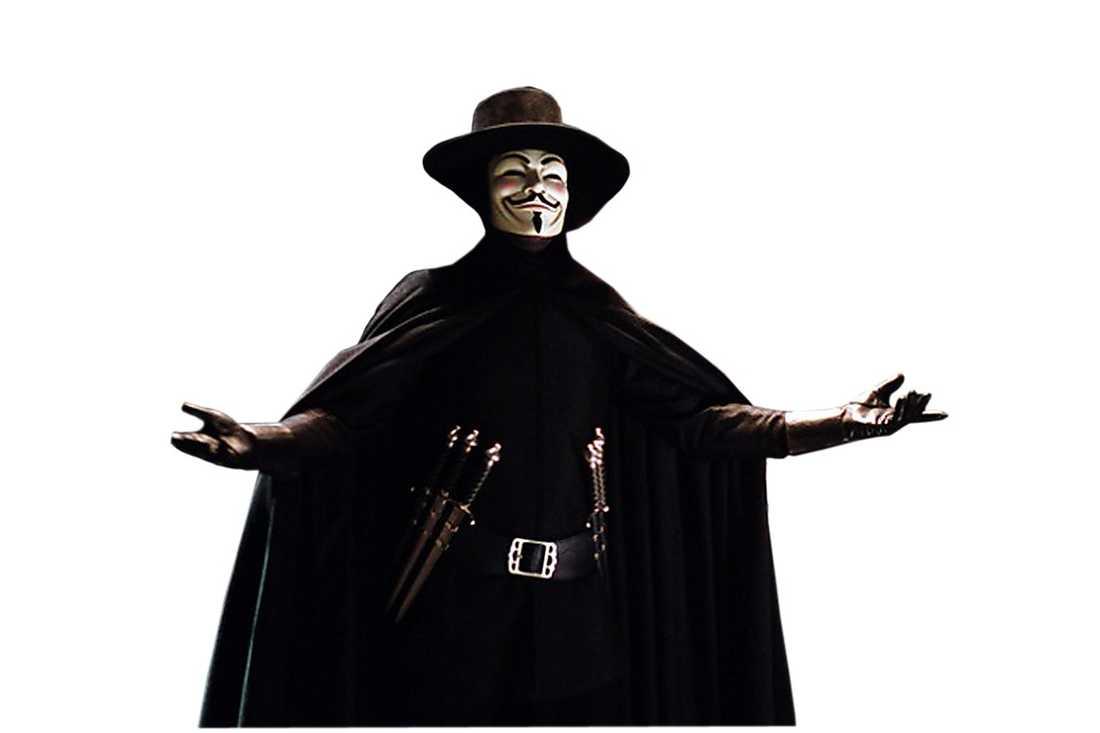 "Anarkisthjälten ""V"" med Fawkes-mask i filmversionen. Foto: WARNER BROS"