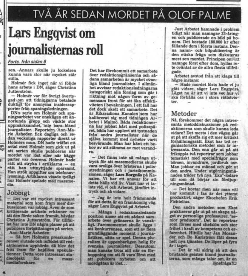 Ur tidningen Arbetet den 28 februari 1988.
