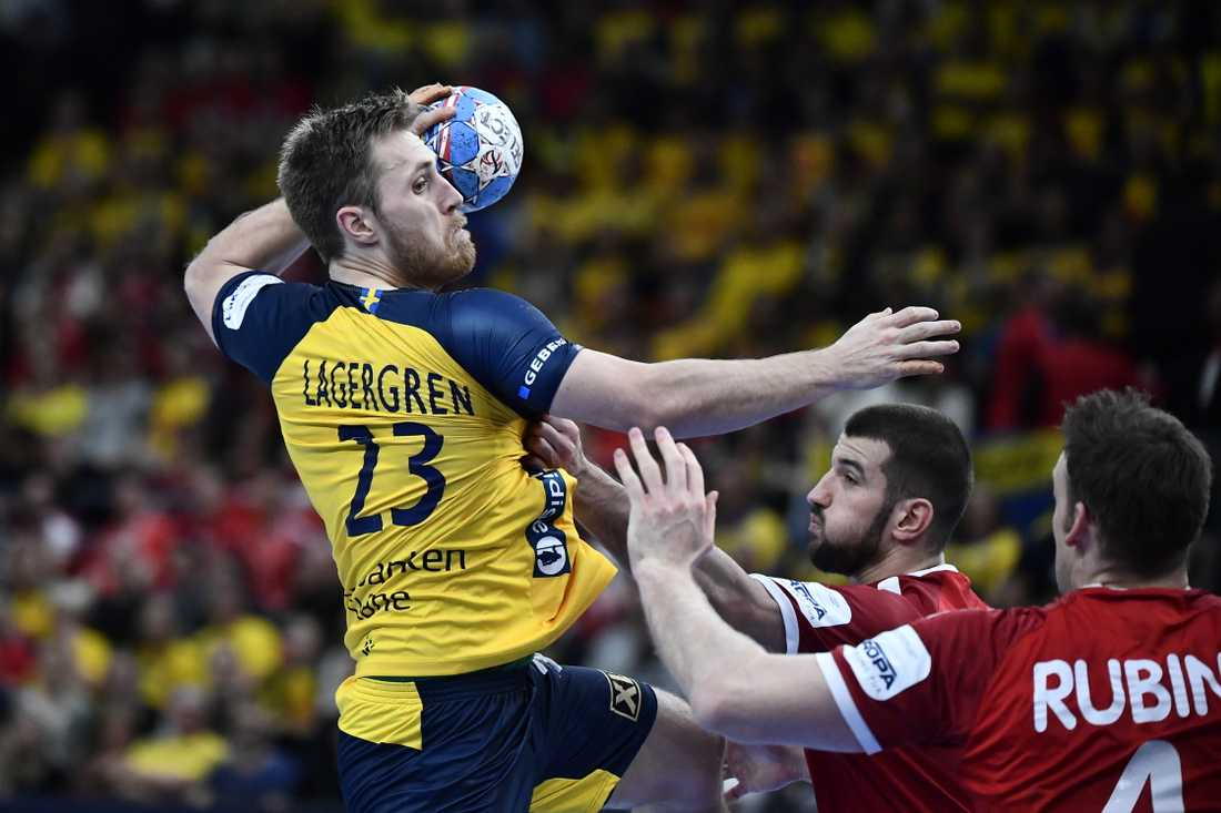 Albin Lagergren under handbolls-EM. Arkivbild.