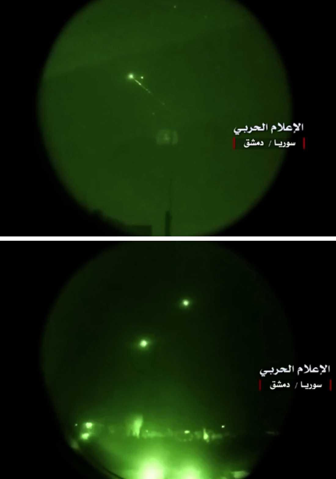En bild som Syriska försvarsdepartementet släpps visar försvarseld från Syrien.