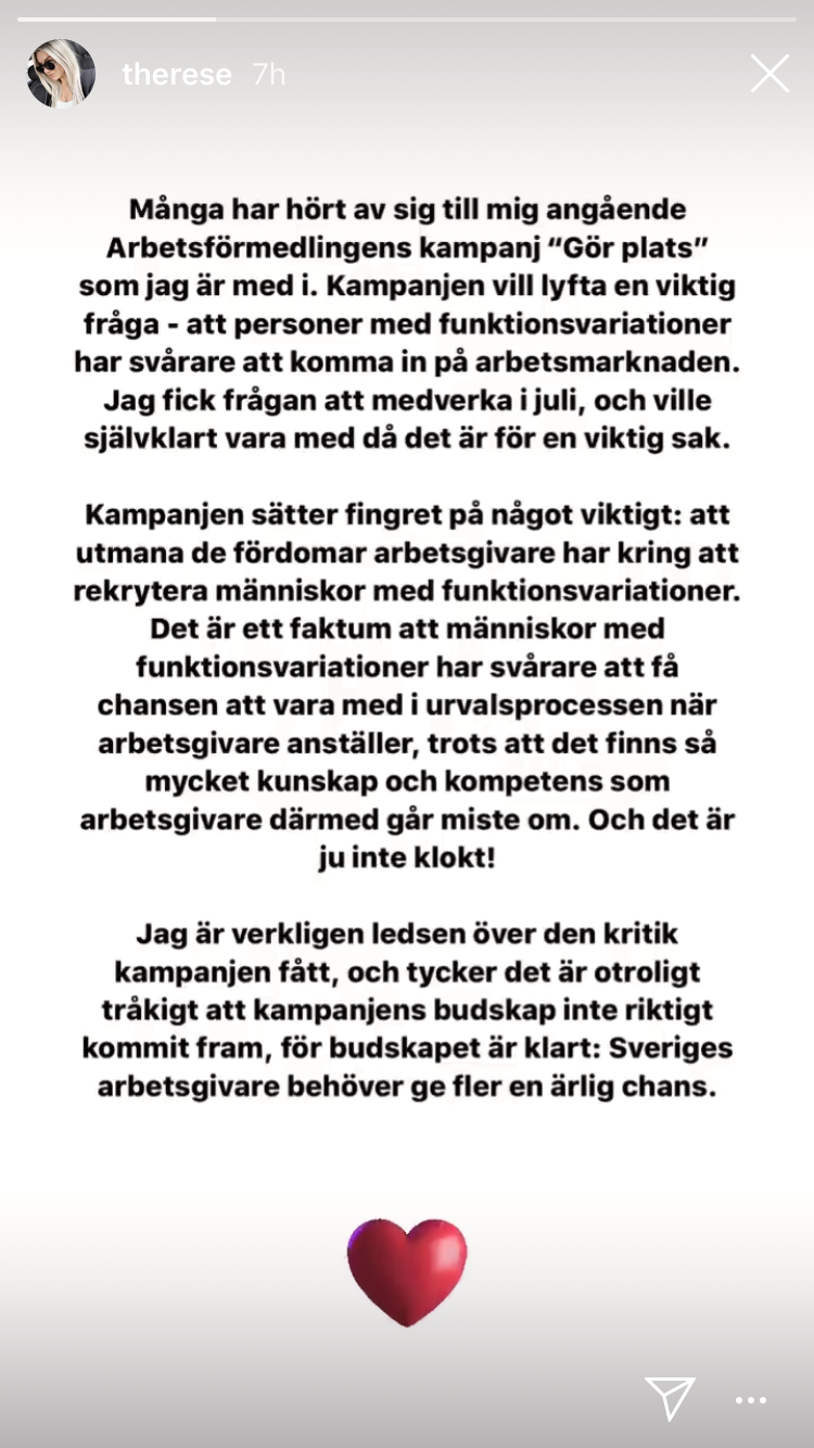 Från influencern Therese Lindgrens Instagram story.