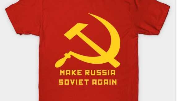T-shirt från Skib & Par i Moskva, ett klädföretag som inte bara vill tjäna pengar på sitt klädmärke utan också sprida ett revolutionärt budskap.