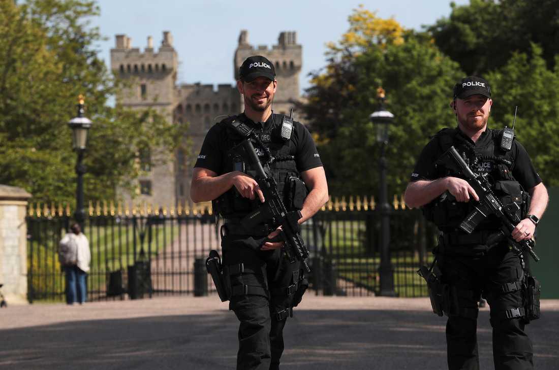 Höjd säkerhet vid Windsor, England inför bröllopet mellan prins Harry och Meghan Markle.