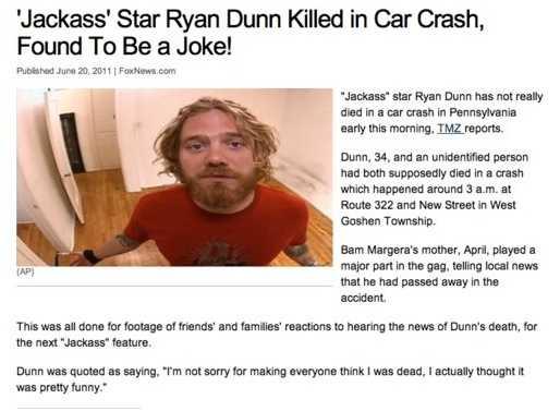 Den fejkade artikeln om att Dunns död var ett skämt.