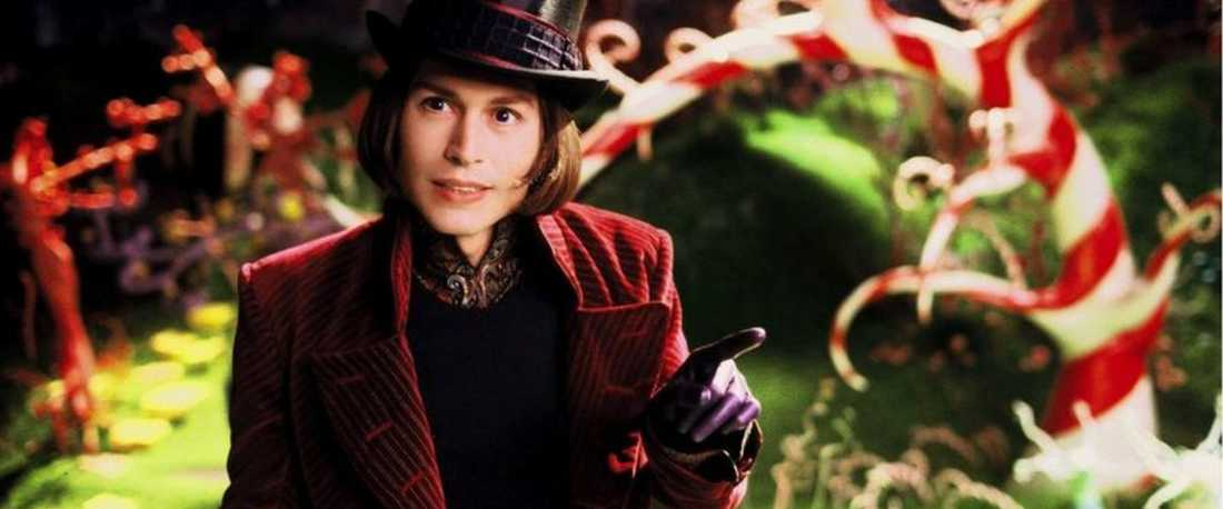 "Johnny Depp som Willy Wonka i ""Kalle och chokladfabriken"" (2005)."
