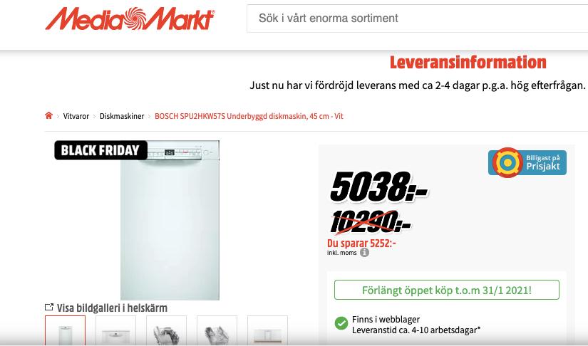 Mediamarkt går ut med att diskmaskinen blivit 5 000 kronor billigare. Men jämfört med priset före den kraftiga höjningen är skillnaden bara drygt 500 kronor.