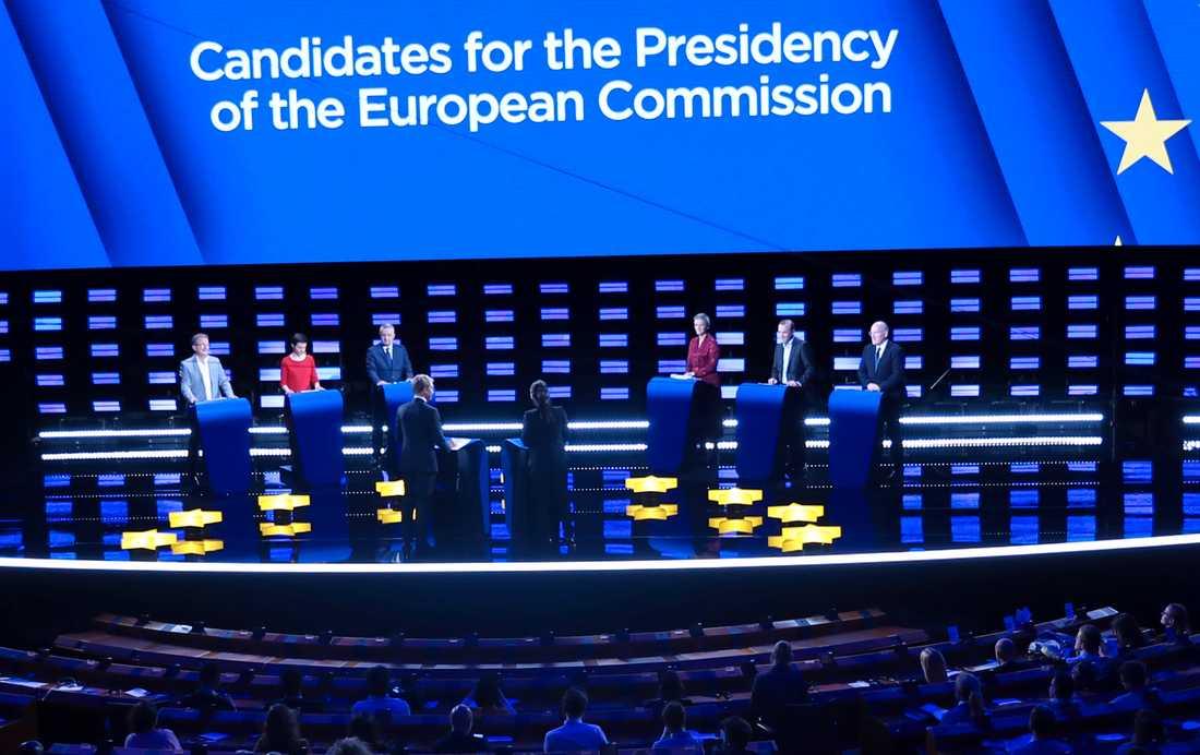 "De sex ""spitzenkandidaten"" möttes i debatten i Bryssel."