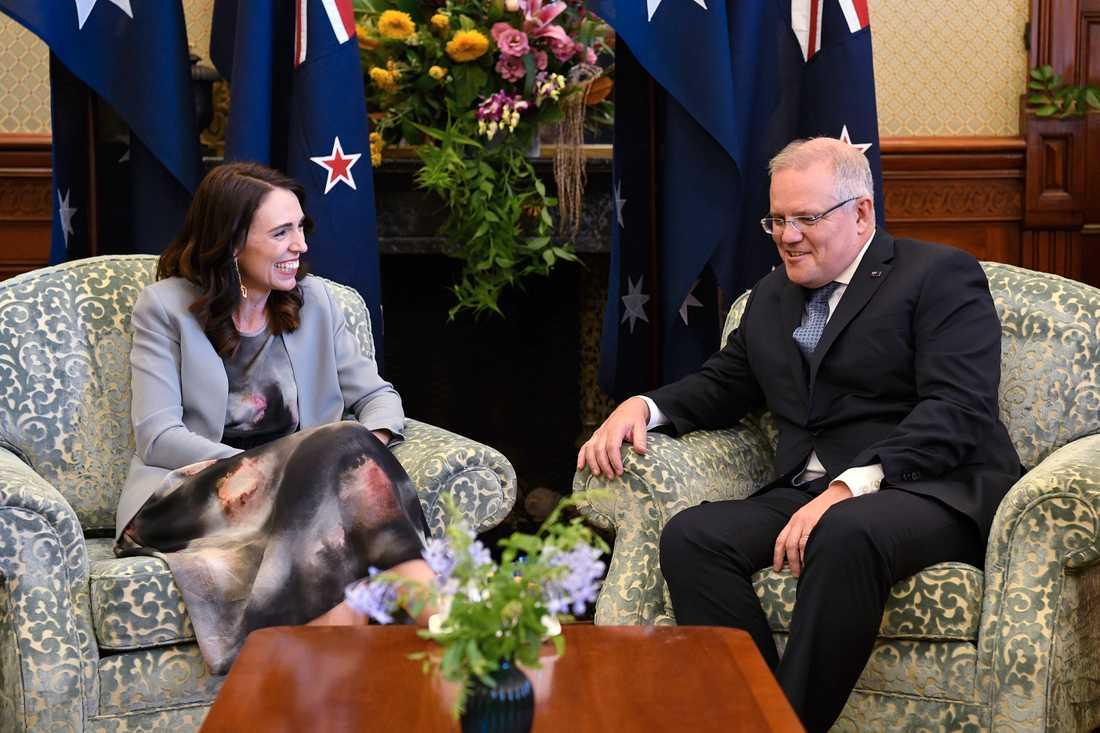 Nya Zeelands premiärminister Jacinda Ardern, till vänster, och Australiens premiärminister Scott Morrison under ett möte i Sydney i februari. Arkivbild.