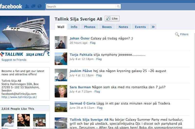Här är Tallink Siljas Facebookgrupp med över 2600 fans och över 200 foton publicerade av nöjda resenärer.