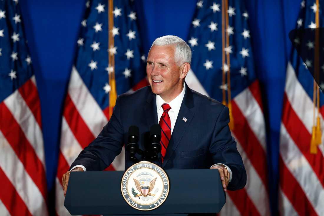 USA:s vicepresident Mike Pence under ett tal i tisdags.