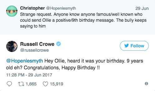 Russell Crowes fina tweet.