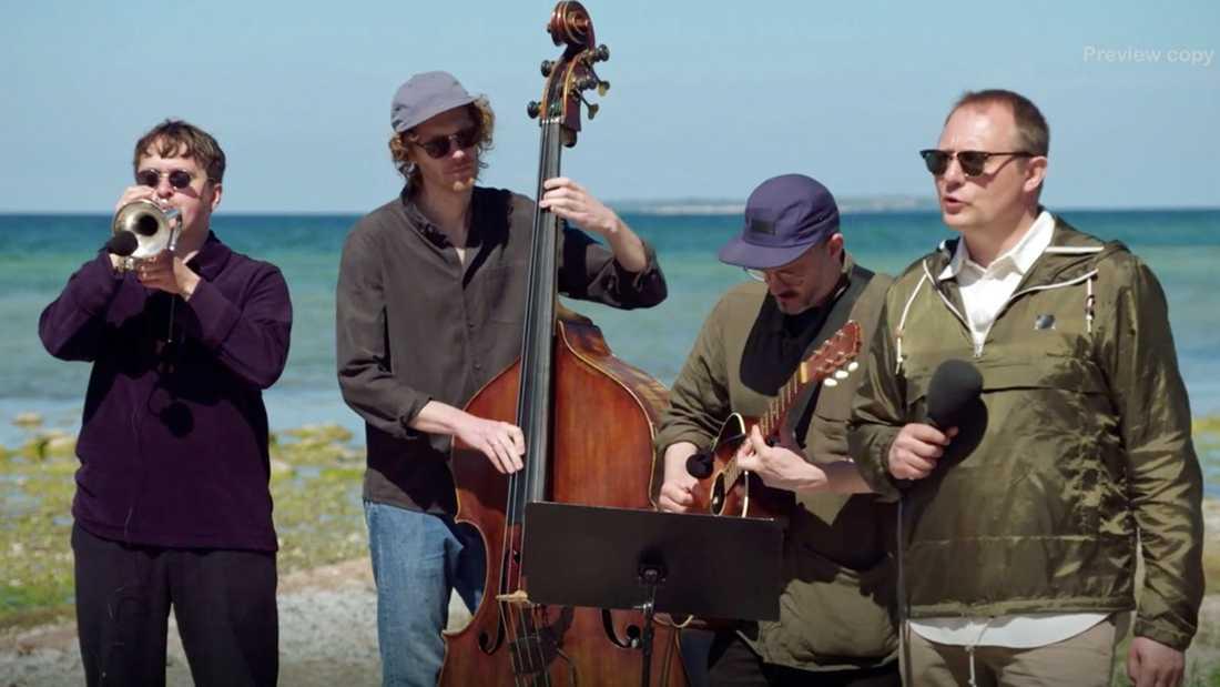 """Magnus Carlsson med band sjunger  """"Änglamark"""" vid havet på Gotland."""